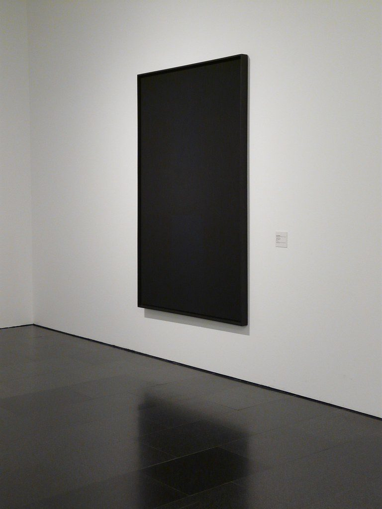 Monochrome black (1963) by Ad Reinhardt, an artwork reflecting postmodernism's belief in a senseless, insensible and essentially dead universe