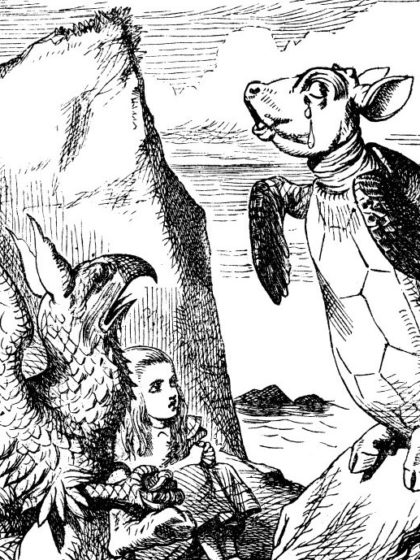 John Tenniel's original (1865) illustration for Chapter IX of Lewis Carroll's Alice in Wonderland