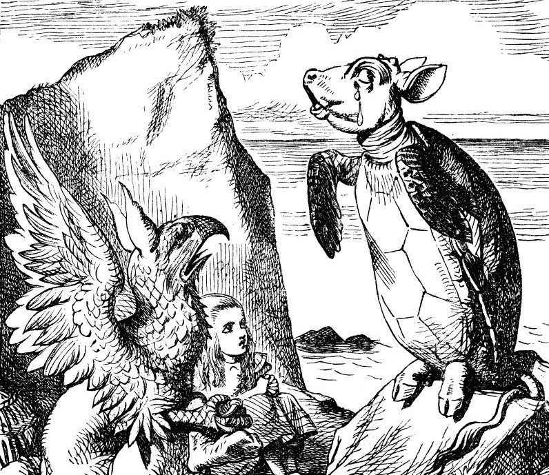 John Tenniel's original (1865) illustration for Chapter IX of Lewis Carroll's Alice in Wonderland