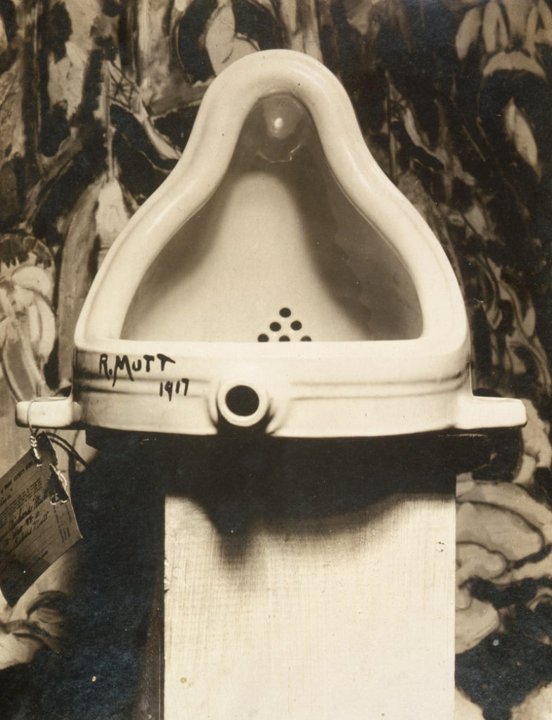 Fountain (1917) by Marcel Duchamp, a precursor to postmodern art
