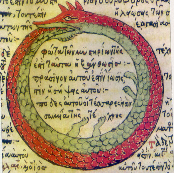 """""""The Ouroboros,"""" the snake that eats its own tail, according to C.G. Jung, """"has been said to have a meaning of infinity or wholeness...devouring oneself and turning oneself into a circulatory process...a dramatic symbol for the integration and assimilation of the opposite, ie. of the shadow."""""""