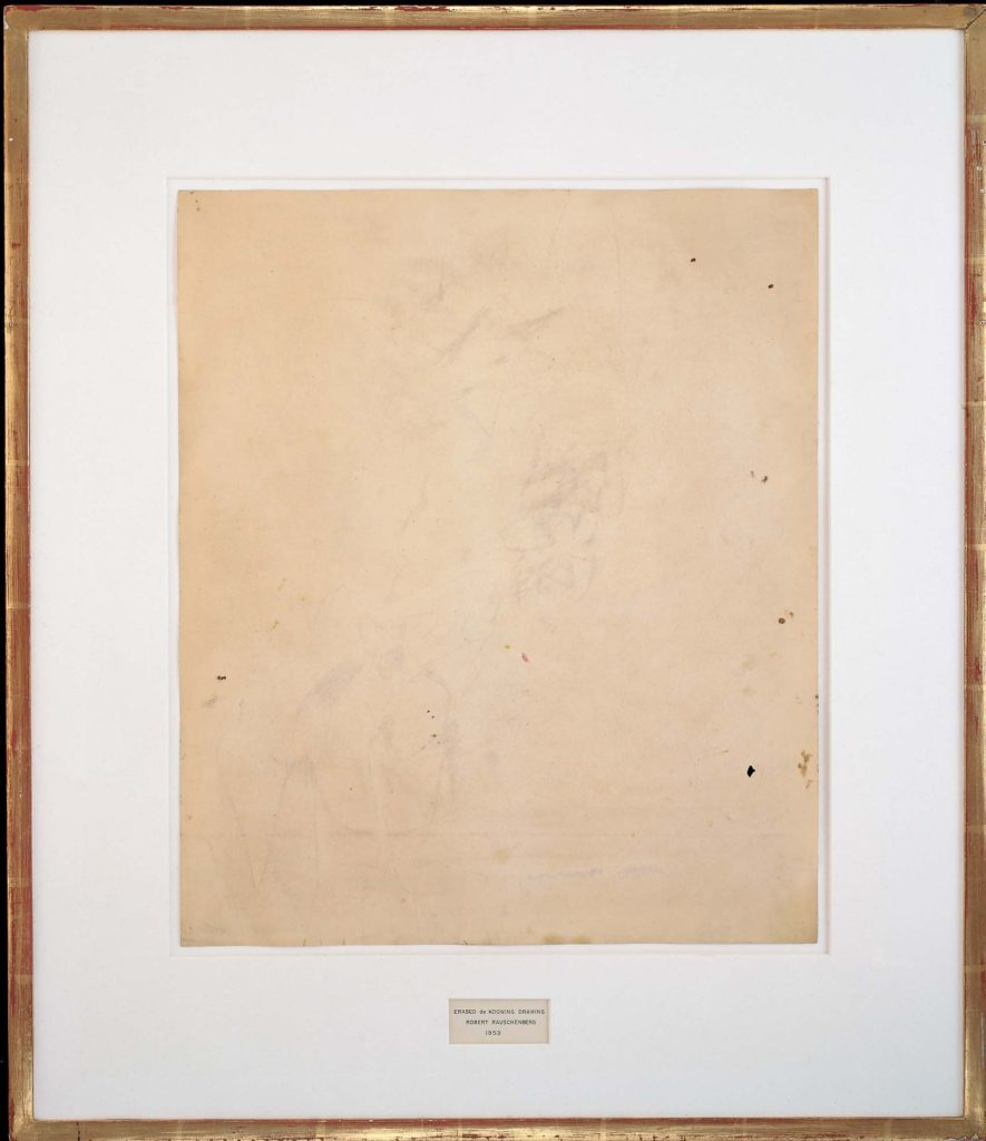 Erased de Kooning Drawing (1958) by Robert Rauschenberg, an early example of conceptual postmodern art