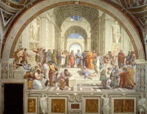 "The School of Athens (1511) by Raphael, depicting the ancient philosophers contemplating ""Oikonomia,"" an ideology that ""sought to identify rational design in nature and culture"""