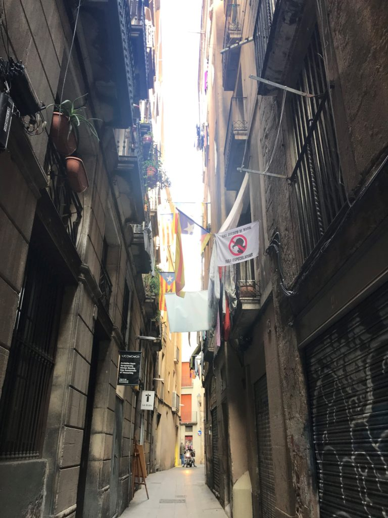 An image of the rapidly gentrifying El Born neighbourhood in Barcelona, Spain