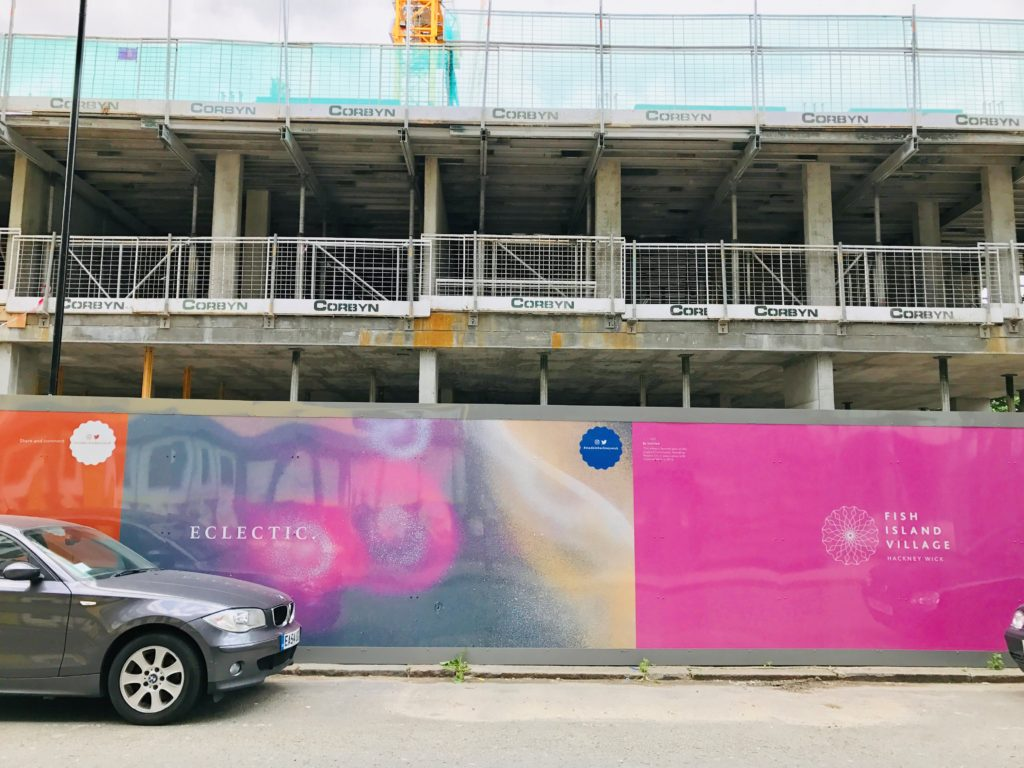 An image of new apartments being built in Fish Island Village, part of the London, England suburb of Hackney Wick