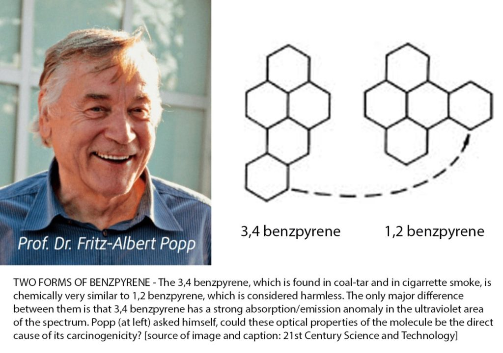 Dr. Fritz-Albert Popp discovered why only one of two isomers of Benzpyrene causes cancer