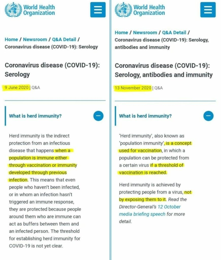 """The World Health Organization changed its definition of what """"herd immunity"""" is between June 9 and November 13 2020"""