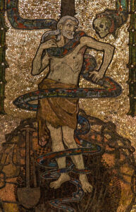 This mosaic of Adam brainwashed by the devil and so caught in the coils of original sin and death is from the Holy Souls Chapel in Westminster Cathedral