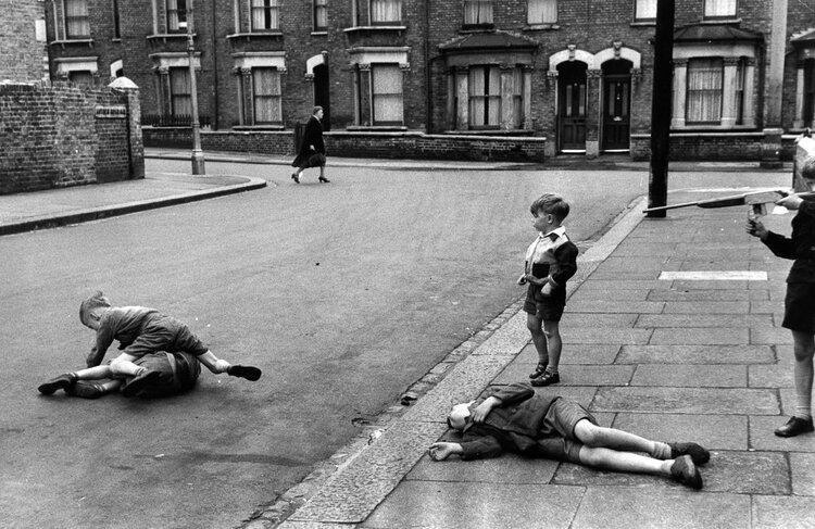 Children playing on the street in postwar England